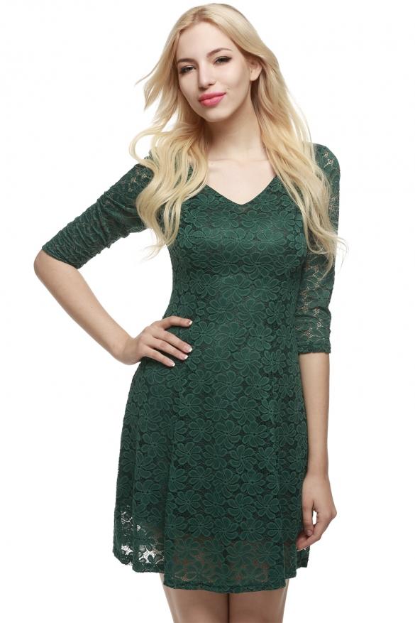 b54d377ce92d krajkové šaty s dlouhým rukávem a výstřihem do V
